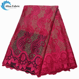 Wine Embroidery African Tulle Lace Fabric High Quality French Net Lace Fabric With Stones 5 Yards/pcs For Party Dress TP07912