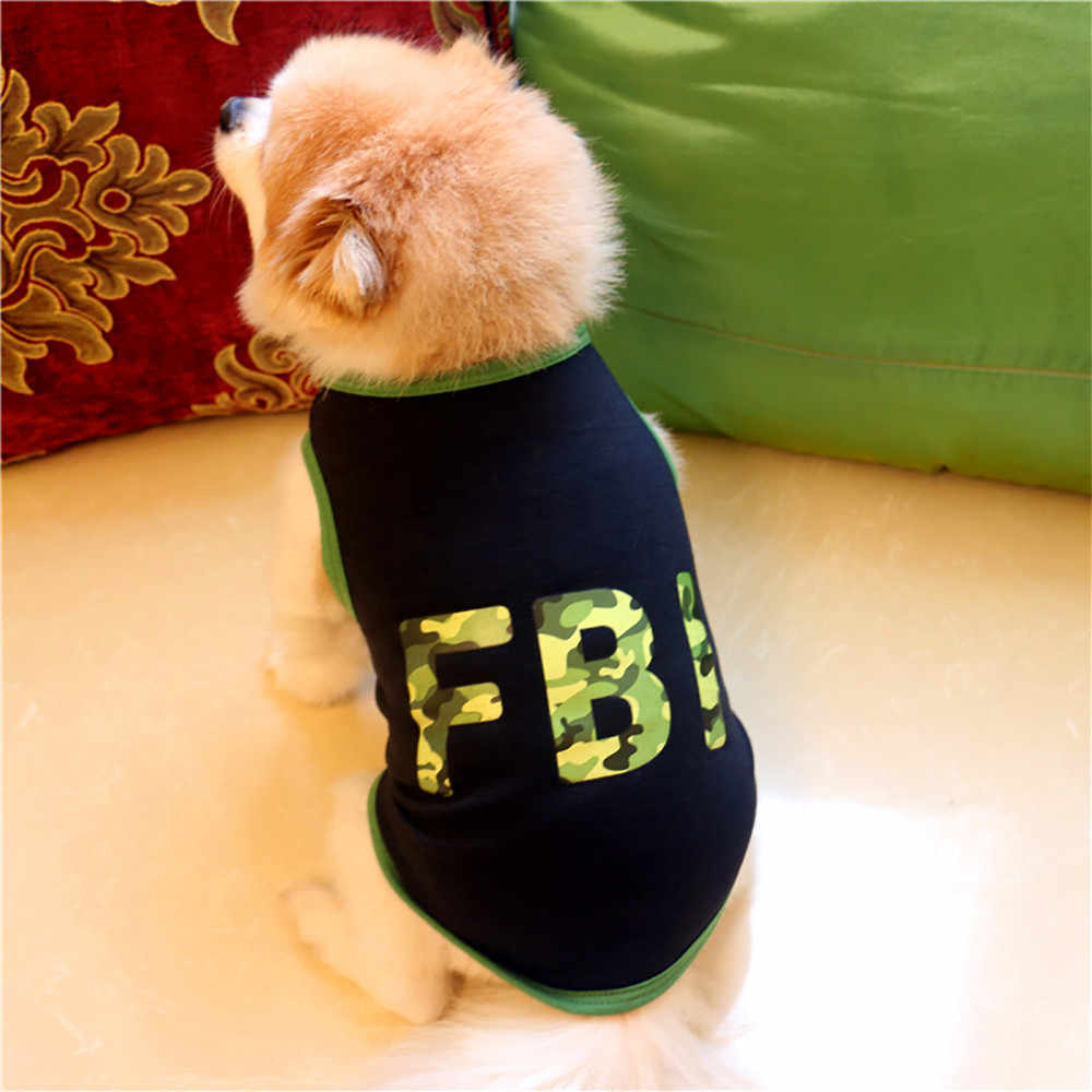 Cool FBI Printed Pet Dog Clothes Fashion T-shirt Puppy Pet Clothing Summer Cotton Shirt Casual Vest For Small Pet Cat Shirts*5