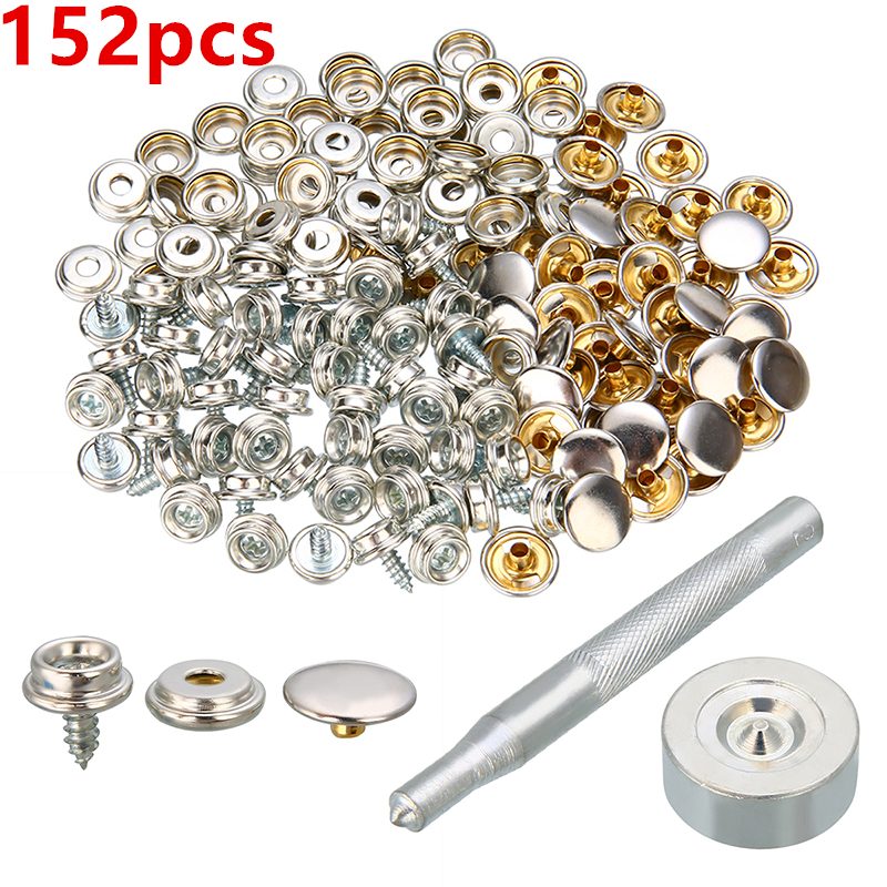 152pcs 10mm Screw Boat Marine Repair Canvas Fabric Snap Fastener Cover Button Socket Screw Stud Self-Tapping Support Accessories