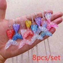 8 pçs conjunto de moda colorido gradiente sereia cauda e 8 cores shimmery peixe escala charme colar gargantilha para mulheres meninas jóias