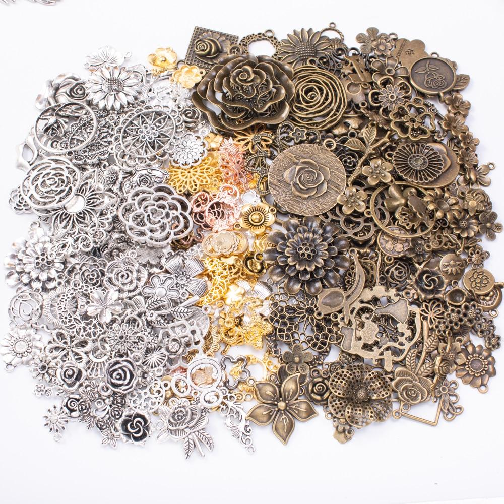 50 г, Лидер продаж, металлическое растение, цветок, смешанный кулон, подвеска, ожерелье ручной работы, изготовление ювелирных изделий, оптова...