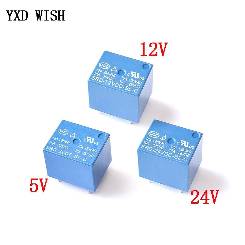 10 шт. мини 5 штифтов SRD-05VDC-SL-C SRD-12VDC-SL-C релейное реле SRD-24VDC-SL-C Rele 10A 5 в 12 В 24 В постоянного тока