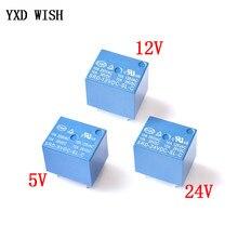 Mini relé de 5 pinos SRD-05VDC-SL-C SRD-12VDC-SL-C SRD-24VDC-SL-C, relé 10a 5v 12v 24v dc com 10 peças