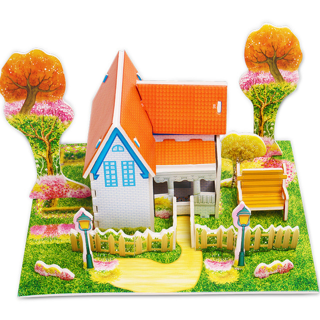 Attractive Cartoon Castle Garden Zoo Princess House 3D Puzzle Jigsaw Paper Model Learning Educational Toys For Children Kid Gift 3