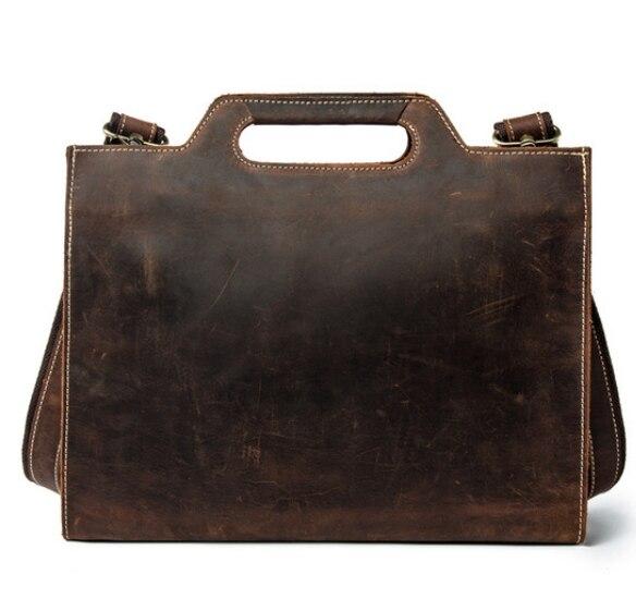 New Arrival Genuine Leather Briefcase Men's Design Fashion Handbag Crazy Horse Cowhide Bag Men Elegant Crossbody Shoulder DF107