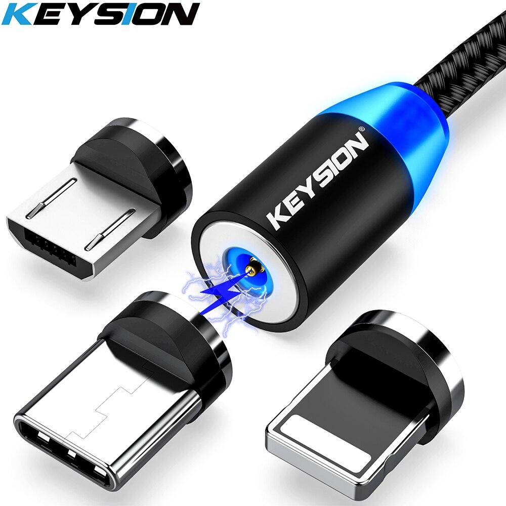 KEYSION LED USB המגנטי כבל טעינה מהירה סוג C כבל מגנט מטען נתונים תשלום מיקרו USB נייד כבל טלפון כבל USB כבל