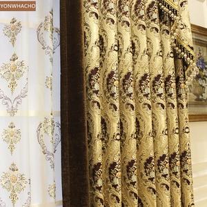 Image 3 - Özel perdeler lüks avrupa Villa oturma odası kalın şönil jakarlı altın bez karartma perdesi valance tül paneli B536