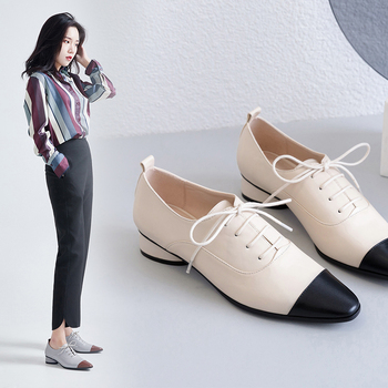 women pumps Natural leather 22-24.5cm Colorblock English Leather Shoes Inside and outside full womens shoes pointed toe