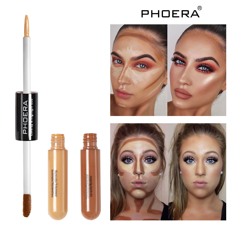 PHOERA Double Head Concealer Liquid 18g Ace Liquid Concealer Stick Scars Acne Face Eyes Foundation Cream Oil Liquid FoundationTL