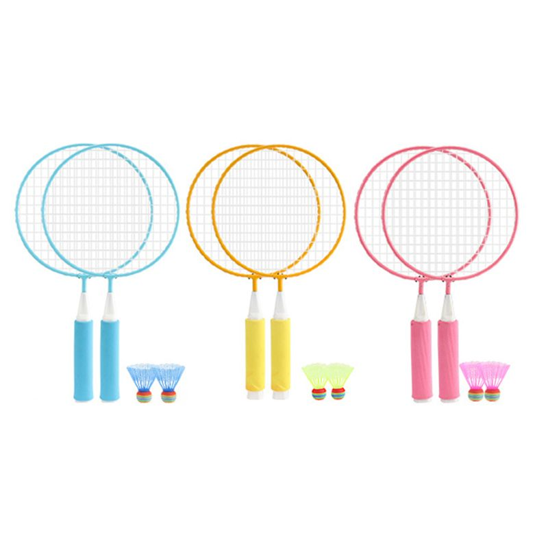 1Pair Kids Children Badminton Racket + 2Pcs Badmintons Set Outdoor Sport Game Fitness Toy