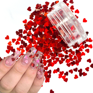 1Box Red Nail Glitter Flakes Love Heart Shape Slider Shining Sequin For Nail Art Paillette Manicure 3D Nail Decor LALB200-1000-2(China)