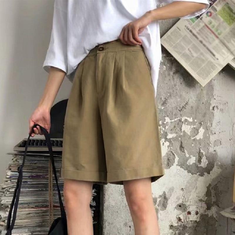 Summer Korean Wide Leg Pants Women Office Ladies Capris High Waist Elegant Pants Female 2020 Black Solid Half Trousers Woman