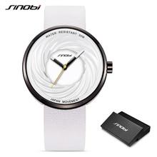 Sinobiแฟชั่นผู้หญิงใหญ่นาฬิกาCreative Eddy DesignคุณภาพสูงสายหนังสีขาวนาฬิกาCasual Relojes Para Mujer