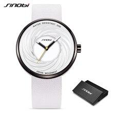 Sinobi moda damska zegarki z dużą tarczą kreatywny projekt eddy wysokiej jakości skórzany pasek białe zegarki Casual relojes para mujer