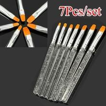 7pcs set UV Gel Acrylic Crystal Nail Art Design Builder Salon Painting Brush Pen Set Paint Brushes for Acrylic Painting tanie tanio Farby Z tworzywa sztucznego 6 lat M01965