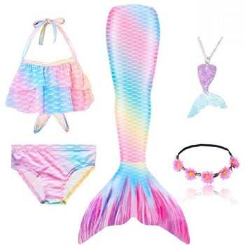New 5Pcs/Set Girls Mermaid Tail Swimsuit Children the Little Costume Cosplay Beach Clothes Bathing Sui Cute beach wear