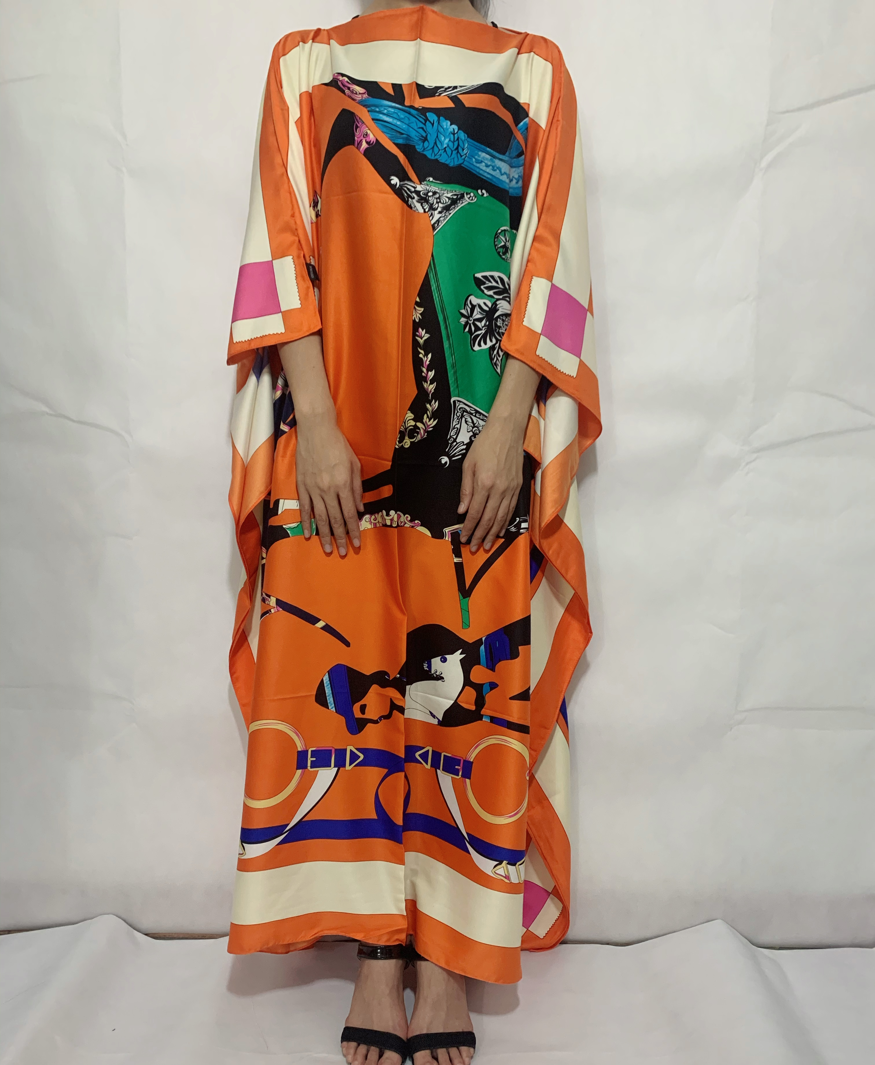 européenne vêtements 2020 Floral Printed Silk Kaftan boho Dress Fashion Batwing Sleeve Sundress women beach long dress for party