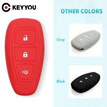 Запасной силиконовый чехол KEYYOU для ключей Ford Fiesta Focus, Mondeo, Ecosport, Kuga, титан, защитный чехол для ключей с дистанционным управлением