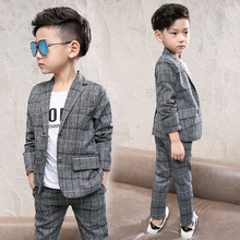2018 New Plaid Kids Blazer Baby Boys Suit Jackets Formal Coat+ Pants 2Piece Boy Suits Formal for Wedding Chlidren Clothing недорого