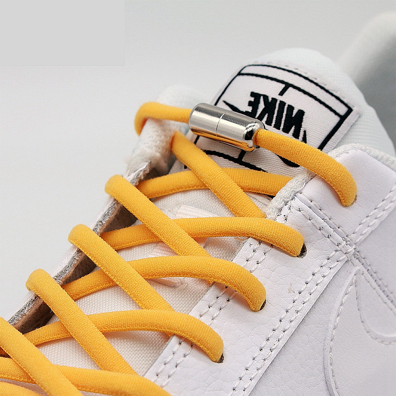 1 Pair Round Elastic Shoelaces Metal Lock No Tie Shoelace Kids Adult Leisure Sneakers Quick Safety Lazy Laces Unisex 19 Colors