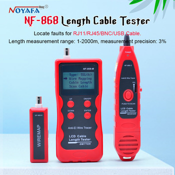 NF-868 digital Cable Tester Tracker for RJ45, RJ11, BNC,USB, Anti-jamming Metal Cable test crosstalk/short-circuit/Length NF_868