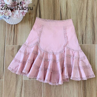 Ziwwshaoyu 2020 Spring Summer Designer Lace Embroidery Ruffled Pink High Waist Mini Skirt Women's High Quality Clothing