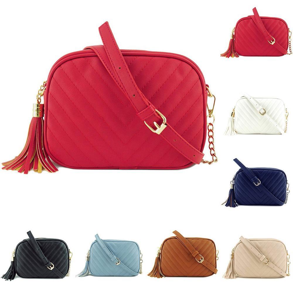 Stripe Small Shoulder Bag For Women Messenger Bags Ladies Retro PU Leather Handbag Purse With Tassels Female Crossbody Bag #15
