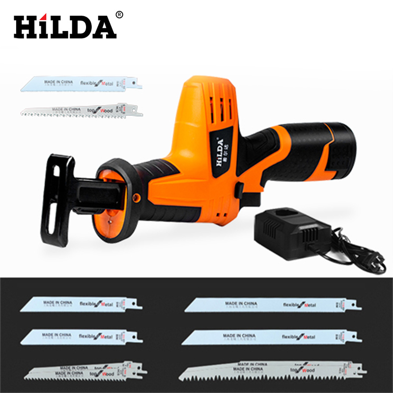 HILDA Cordless Reciprocating Saw Electric Saw Wood/ Metal Saws With Sharp Blade Woodworking Cutter