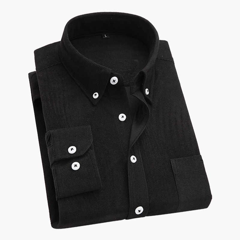 Camisa masculina formal de manga longa, veludo, de cor sólida, slim fit, com bolso, sarja de alta qualidade, tamanho grande 4xl 5xl, dropshipping