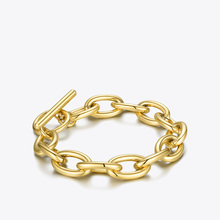 ENFASHION Punk Oval Bracelets For Women Gold Color Stainless Steel Simple Chunky Chain Bracelet 2020 Fashion Jewelry Gifts B2187