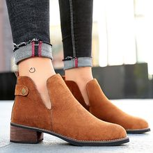 Women's Suede Brown Ankle Boots for Women Fashion Autumn Winter Puppy Heel Med Slip On Flock Punk Pointed Toe Belt Split Boots(China)
