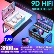 Auriculares Bluetooth inalámbricos GOOJODOQ, IPX7 TWS 5,0 LED, auriculares deportivos con cancelación de ruido, estéreo HiFi 9D a prueba de agua 3600mah