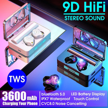GOOJODOQ سماعة لاسلكية تعمل بالبلوتوث سماعة IPX7 TWS 5.0 LED الرياضة إلغاء الضوضاء سماعات HiFi 9D ستيريو مقاوم للماء 3600mah