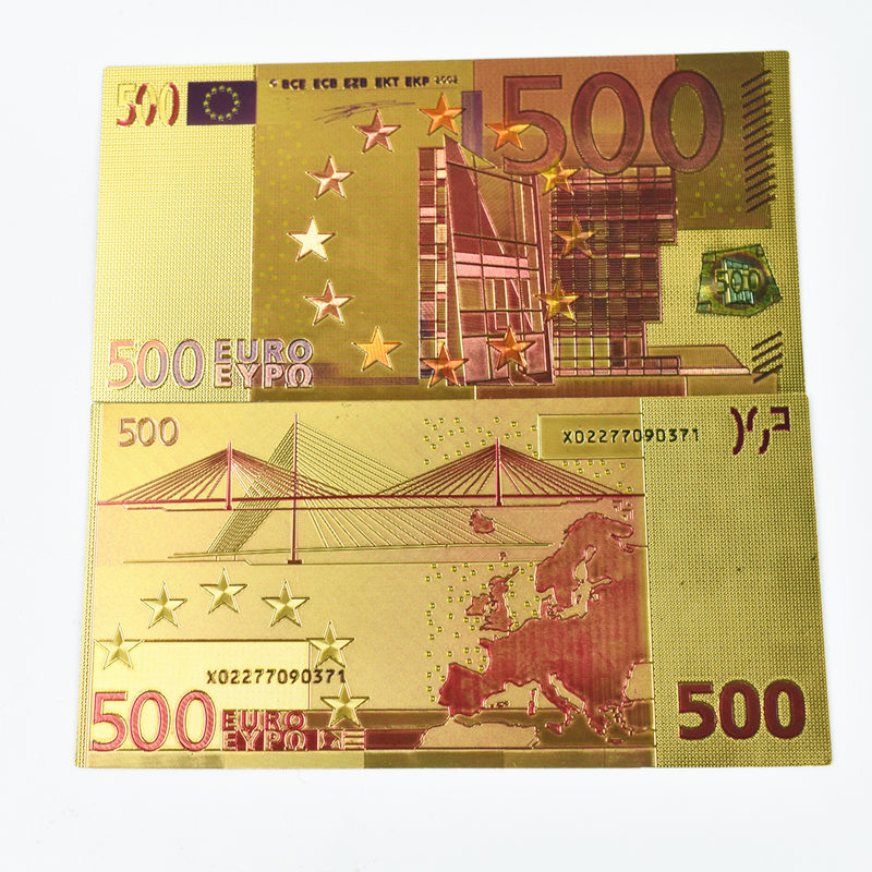 100 500 EUR Gold Banknotes in 24K Gold Plated Dollar Euros Fake Money for Collection