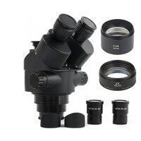 2019 Black 7X 45X 3.5X 90X Simul Focal Trinocular Microscope Zoom Stereo Microscope Head + 0.5x 2.0x Auxiliary Lens