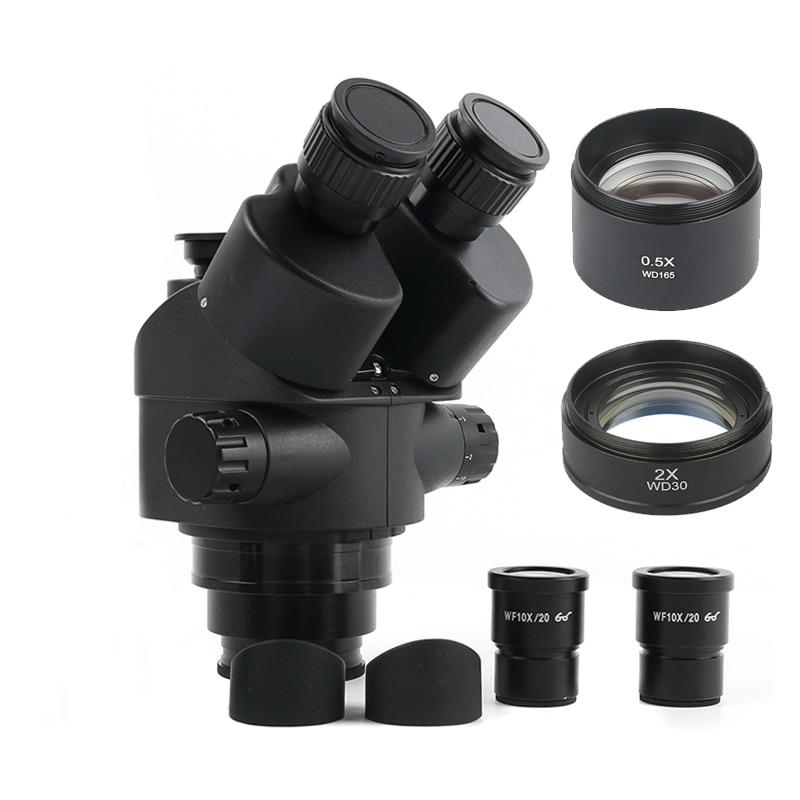 2019 negro 7X-45X 3.5X-90X Simul-Focal microscopio Trinocular Zoom estéreo microscopio CABEZA + 0.5x 2.0x lente auxiliar