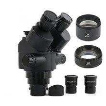 2020 黒 7X 45X 3.5X 90Xサイマル 焦点三眼顕微鏡ズームステレオ顕微鏡ヘッド + 0.5x 2.0x補助レンズ