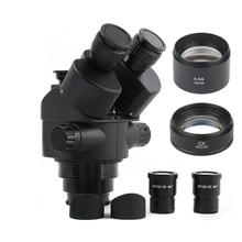 2020 שחור 7X 45X 3.5X 90X Simul הפוקוס Trinocular מיקרוסקופ זום סטריאו מיקרוסקופ ראש + 0.5x 2.0x עזר עדשה