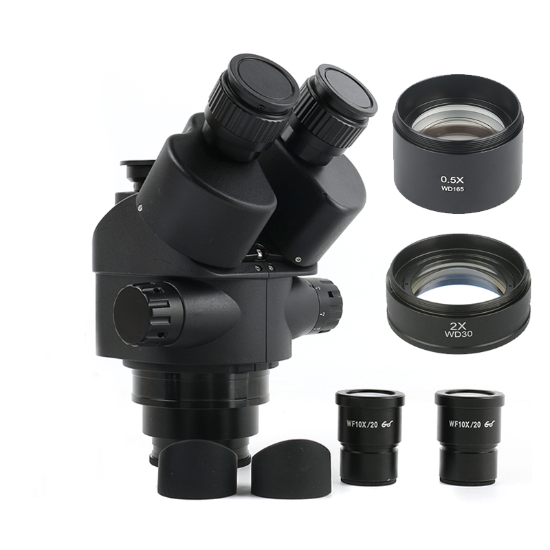 2020 Black 7X-45X 3 5X-90X Simul-Focal Trinocular Microscope Zoom Stereo Microscope Head   0 5x 2 0x Auxiliary Lens