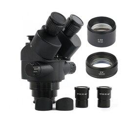 2020 negro 7X-45X 3.5X-90X, microscopio Focal Trinocular con Zoom, cabeza de microscopio estéreo + 0.5x 2.0x lente auxiliar