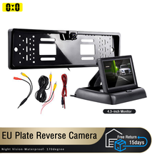 Rear View Camera 4LED Night Vision Reversing CCD Auto 4.3inch Parking Monitor Waterproof 170 Degree HD Video with EU Plate Frame