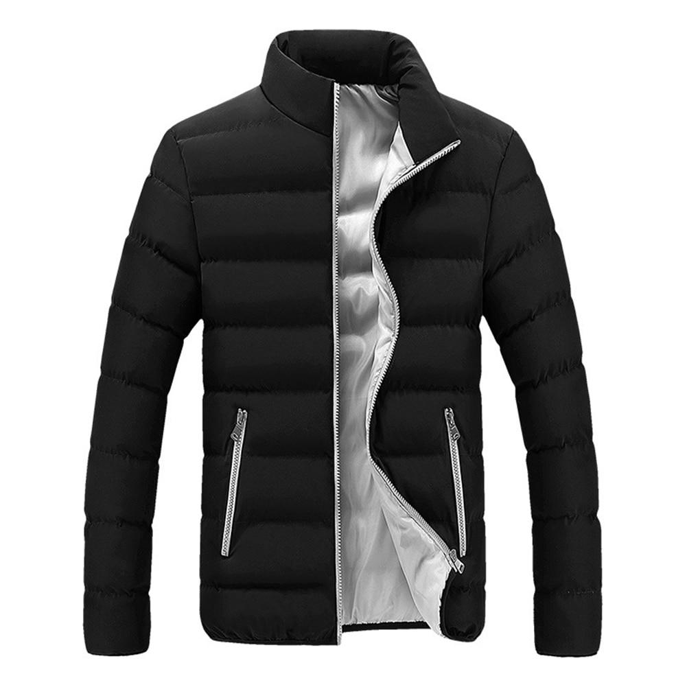 Men Winter Jacket Coats Outerwear Padded Stand-Collar Zipper Warm Male Casual Fashion