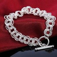 Pulseras redondas de Plata de Ley 925 para hombre y mujer, joyería Retro de compromiso para boda, regalo para mujer