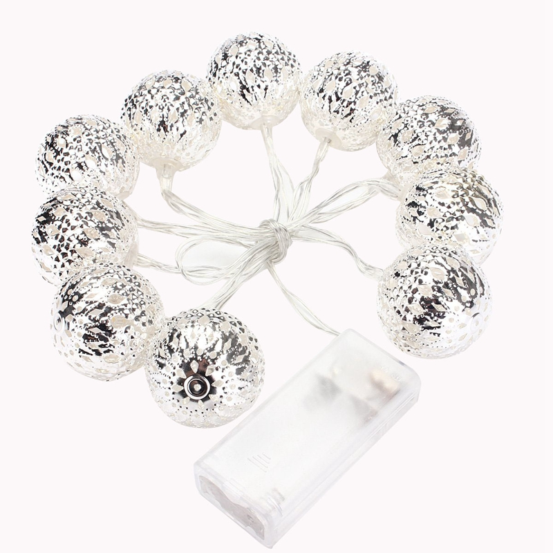 Set of 10 1m Ball String Lanterns LED Fairy Lights Battery Operated Garden Wedding Home Party Christmas Decoration|Lighting Strings| |  - title=