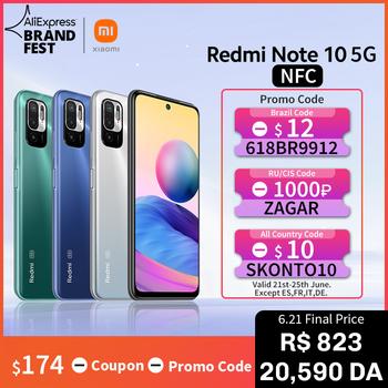 [Światowa premiera W magazynie] Wersja globalna Xiaomi Redmi Note 10 5G NFC Smartphone Dimensity 700 90Hz FHD+ Wyświetlacz 48MP aparat 5000mAh tanie i dobre opinie Niewymienna CN (pochodzenie) Android Zamontowane z boku Rozpoznawanie twarzy Quick Charge 3 0 english Rosyjski Niemieckie