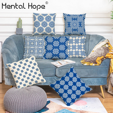 Classical Chinese Style Cushion Cover Geometric Printed Decorative Throw Pillow Cover Linen Cotton Square Pillowcase Home Decor chinese style paisley pattern square shape flax pillowcase without pillow inner