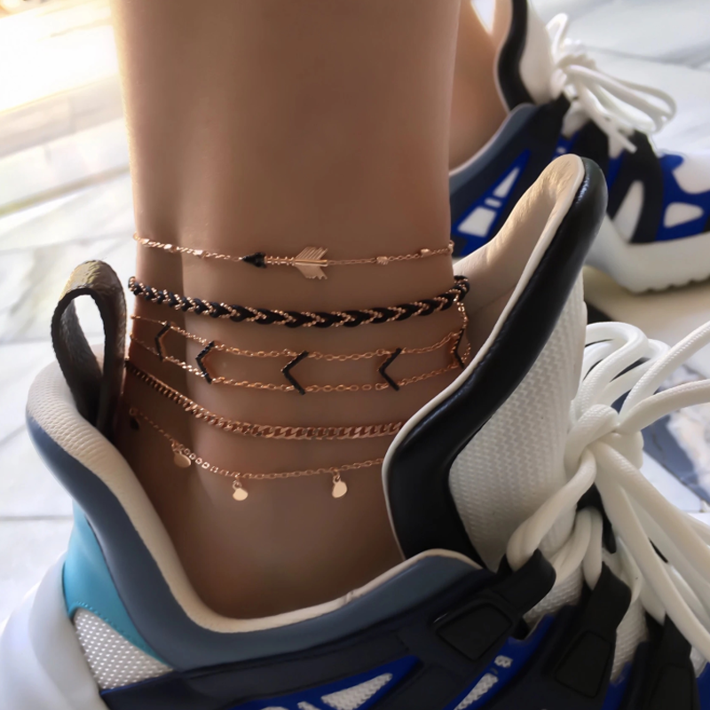 docona Gothic Black Arrow Anklets for Women Handmade Sequins Rope Chain Anklet Party Beach Jewelry Tobilleras 5pcs/set 8851