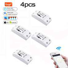 4pcs Tuya Wifi DIY Smart Wireless Remote Switch Domotica Light Controller Module Work with Alexa Google Home Smart Life
