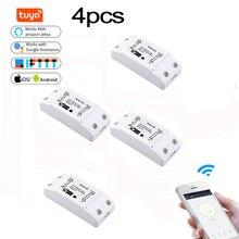 Interruptor remoto inalámbrico con Wifi para el hogar, módulo de Controlador de luz para domótica, compatible con Smart Life, Tuya, Alexa y Google Home, 4 Uds.