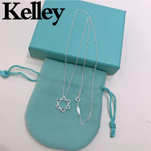 Kelley high quality original Tiff 925 sterling silver necklace six-pointed star shape brand design ladies fashion luxury jewelry